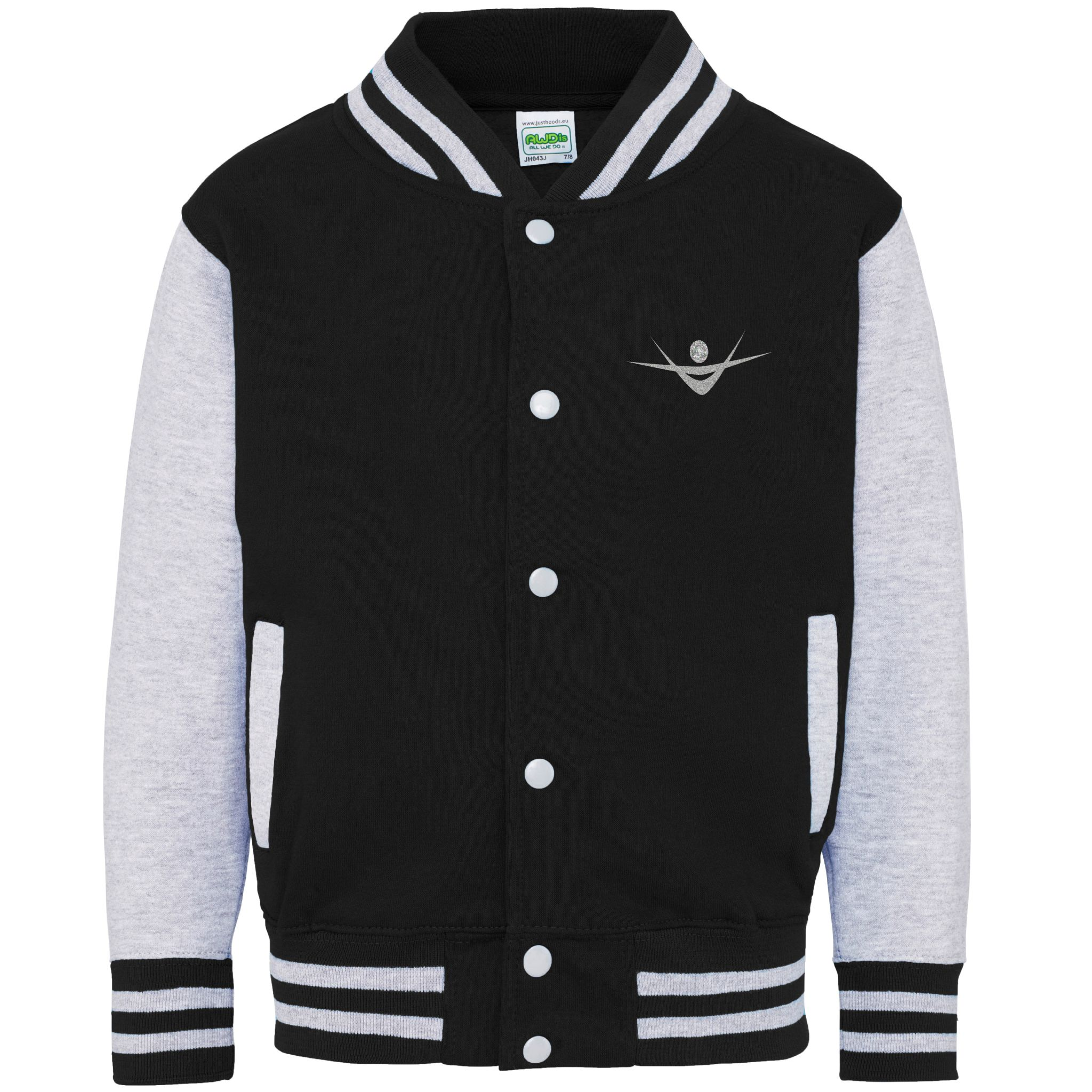 Kids Black Grey Varsity Baseball jacket Glitter Gymnast & Virtue ...
